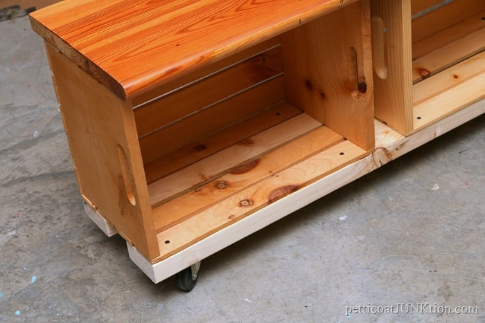crate bench natural wood finish