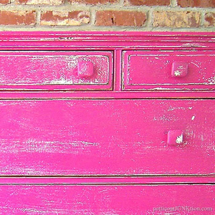 heavily distressed girly furniture in fuchsia or hot pink