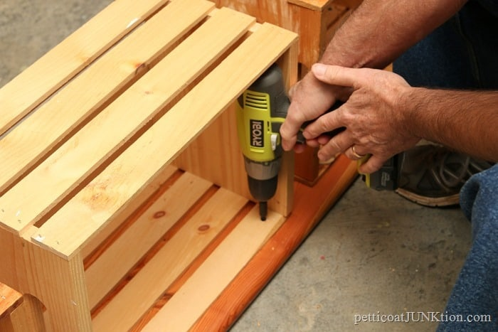 screwing crates to bench top