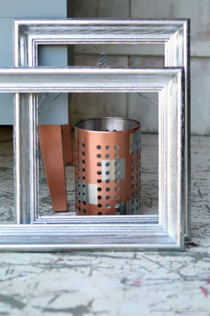 silver and copper metallic spray paint