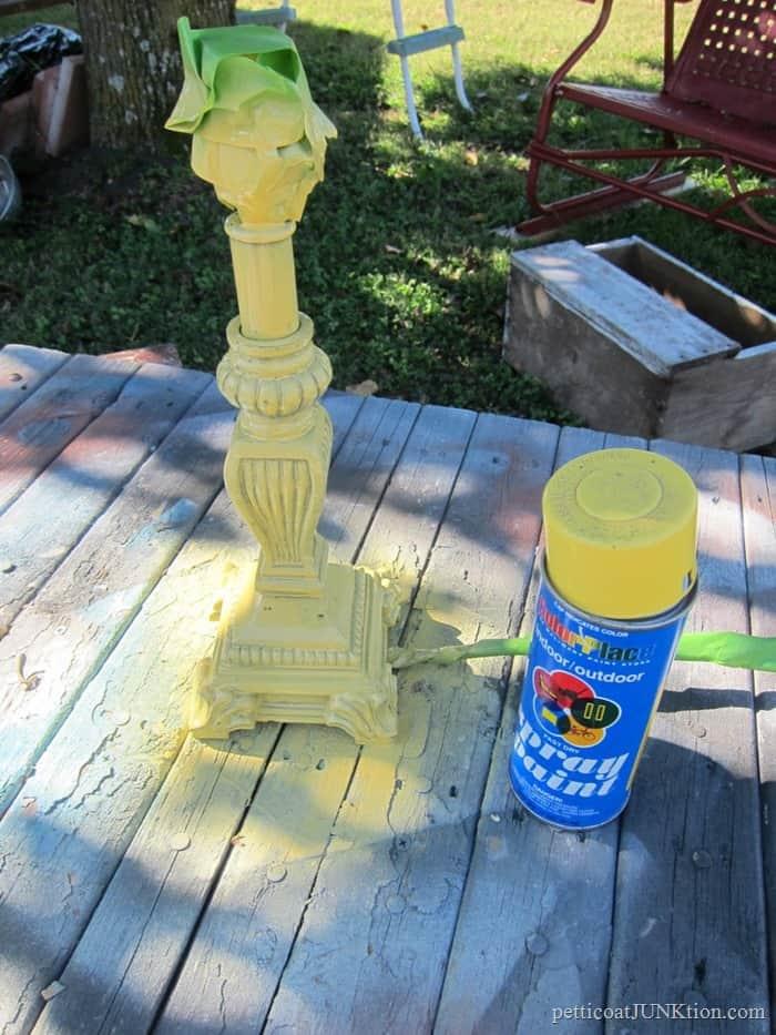 spray paint a lamp