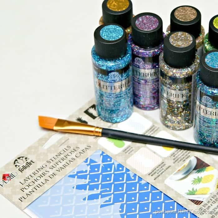 FolkArt Glitterific Paint and Stencil project