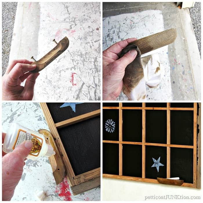 make a chalkholder for the chalkboard out of a reclaimed wood furniture pull