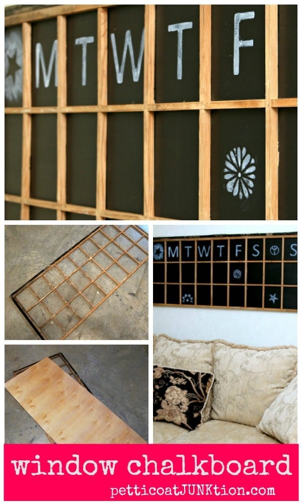 make a rustic window chalkboard