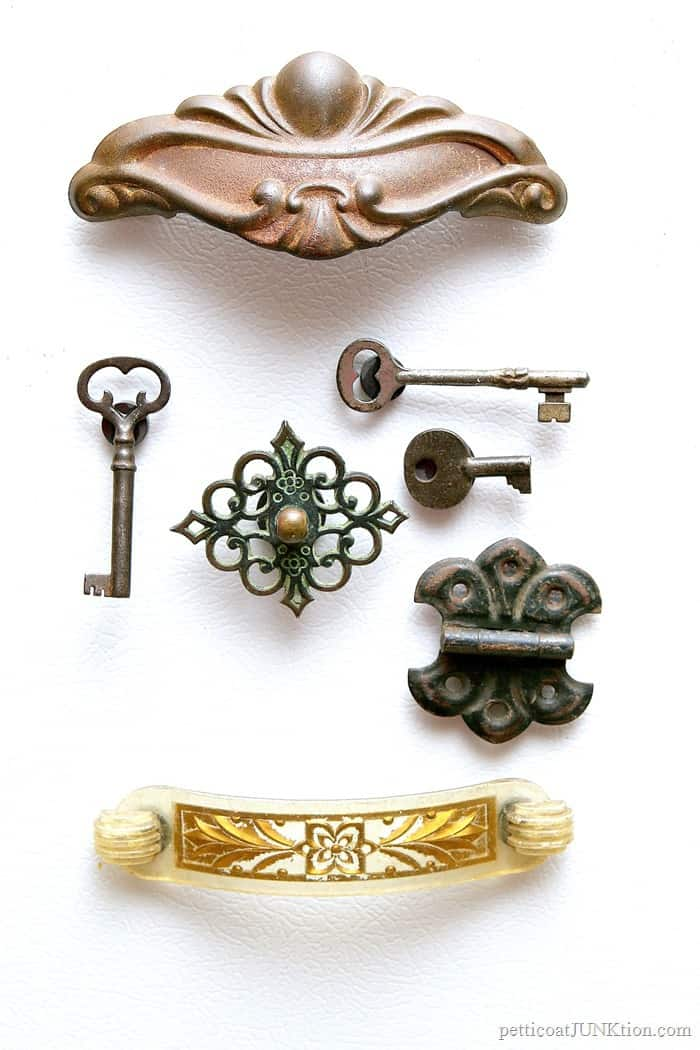 vintage hardware and antique keys made into refrigerator magnets