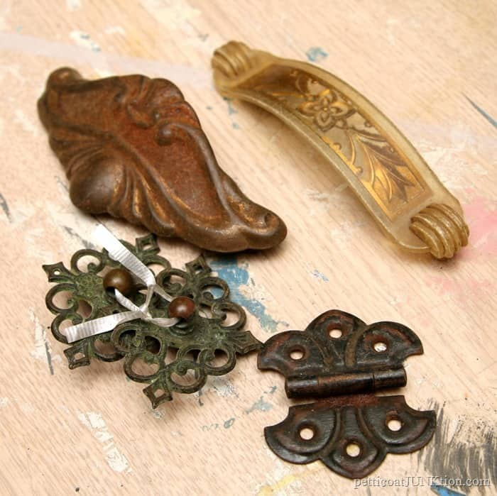 vintage hardware and furniture pulls for refrigerator magnets