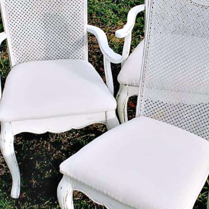 Easy Drop Cloth DIY Idea For Covering Fabric Chair Seats