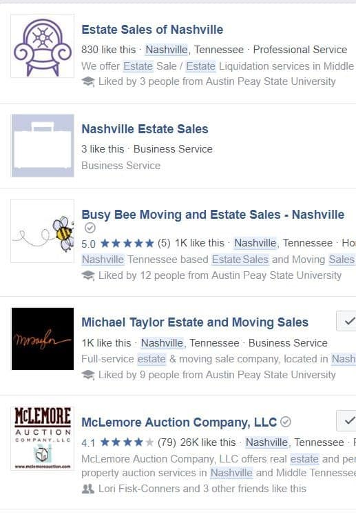 Facebook search for estate sales