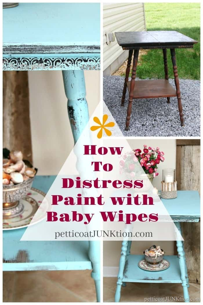 How to distress painted furniture with baby wipes