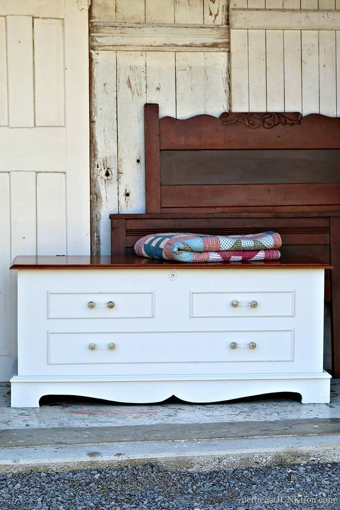 Stained And Painted Cedar Chest