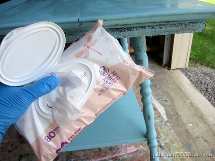 baby wipes for distressing paint