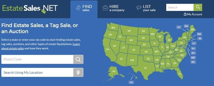 How to find estate sales and auction listings