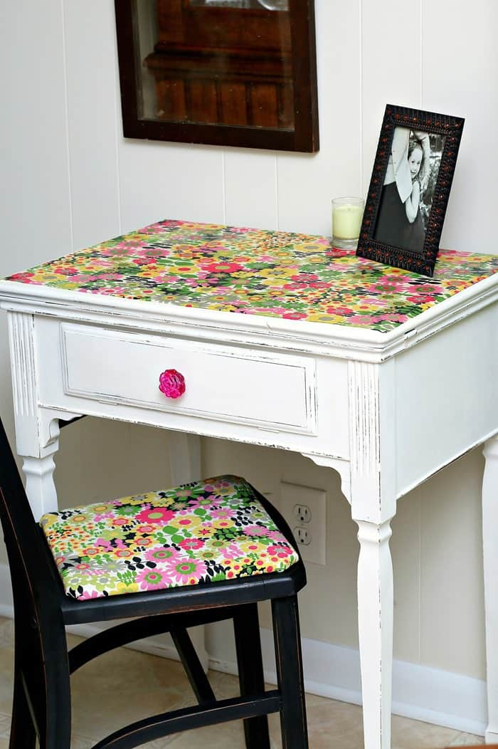 How to decoupage using Hard Coat Mod Podge on furniture and Fabric Mod Podge on the fabric for the project