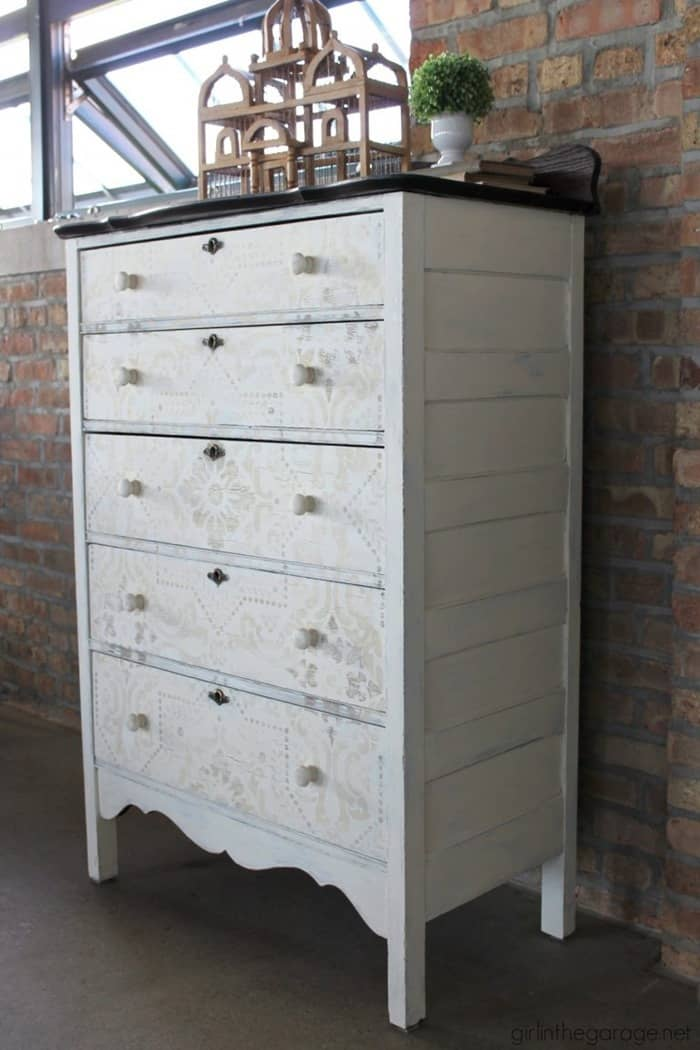 IMG_7537-chalk-paint-stenciled-dresser-makeover-from Girl in the Garage