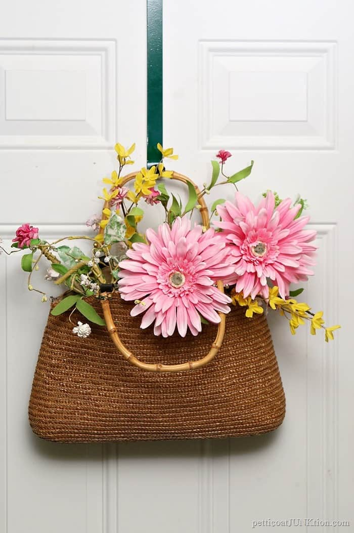 Make A DIY Wreath Using A Straw Purse