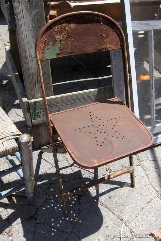 Rusty Metal Star Chair And $10 Table Base For Free Table Top