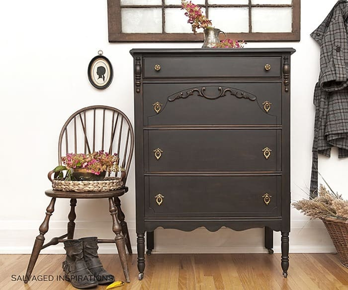 Vintage-Tall-Dresser-Chair-Painted-in-DB-Caviar by Salvaged Inspirations