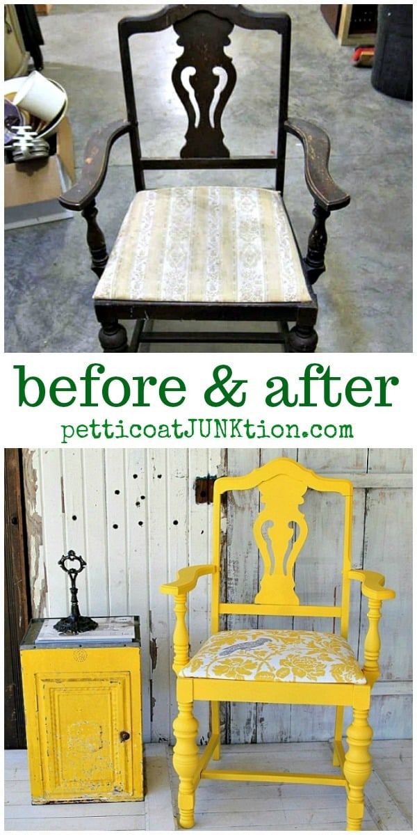 bold yellow paint color for chair makeover