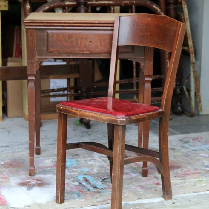 chair and sewing machine cabinet make a nice student desk when decoupaged and painted