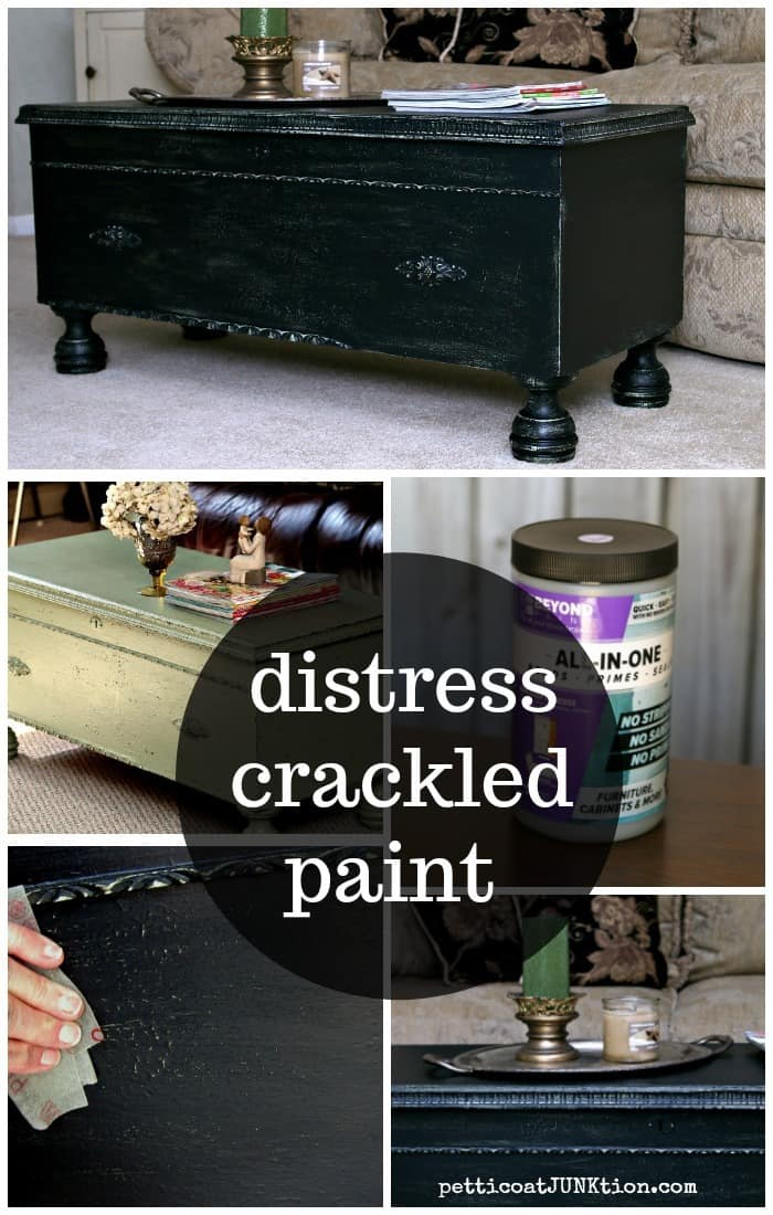 distressing crackle paint project by Petticoat Junktion