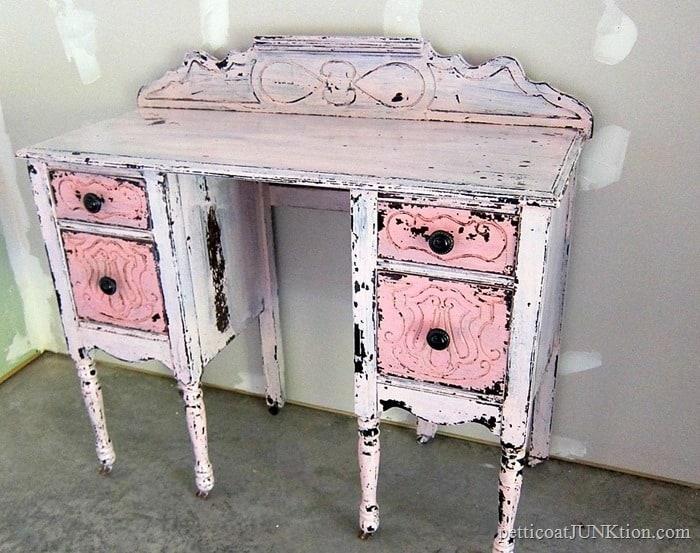pink vintage dresser makeover