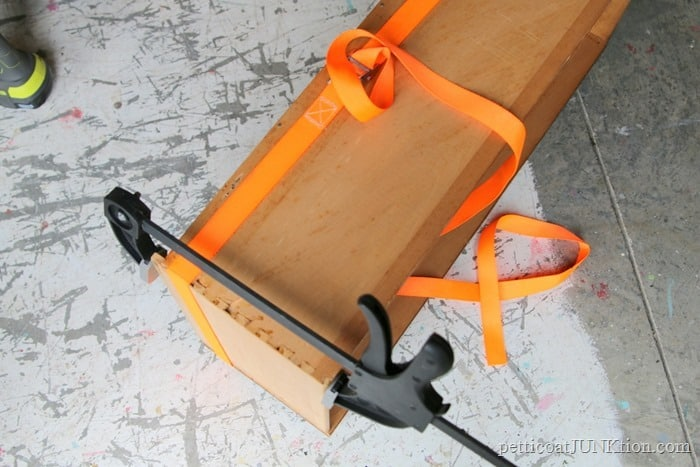 repair furniture drawers with wood glue and clamps