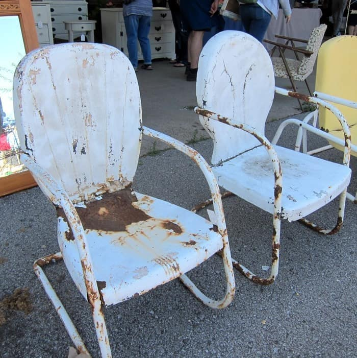 rusty metal outdoor chairs