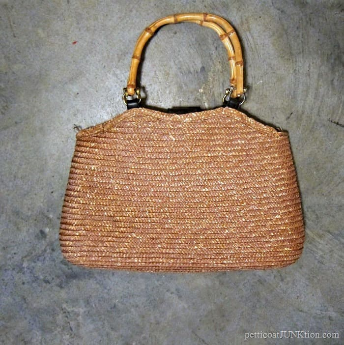 thrift store straw purse for wreath diy