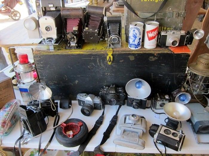vintage cameras at the Nashville Flea Market