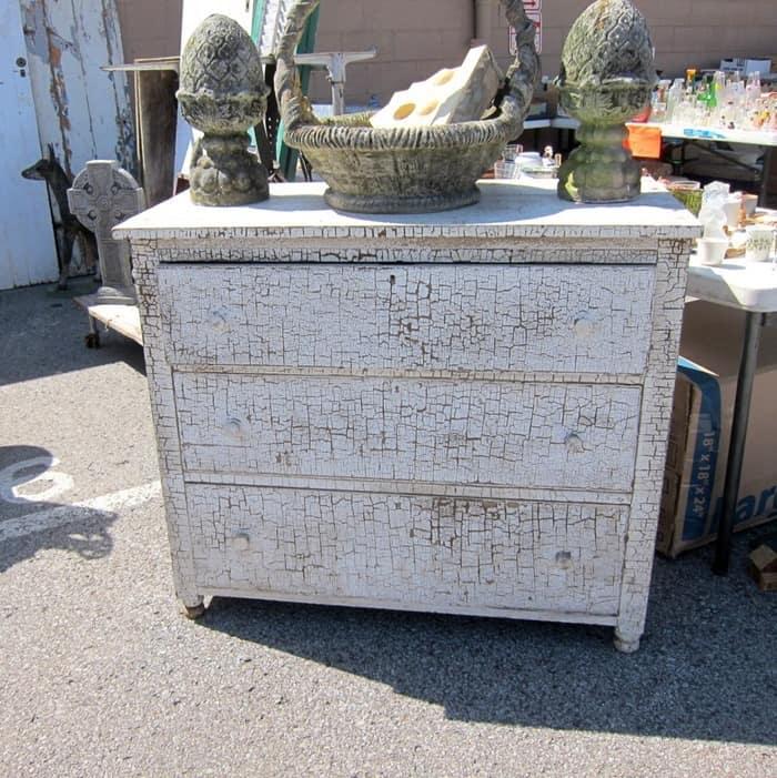 white chippy shabby chic antique furniture at the Nashville Flea Market