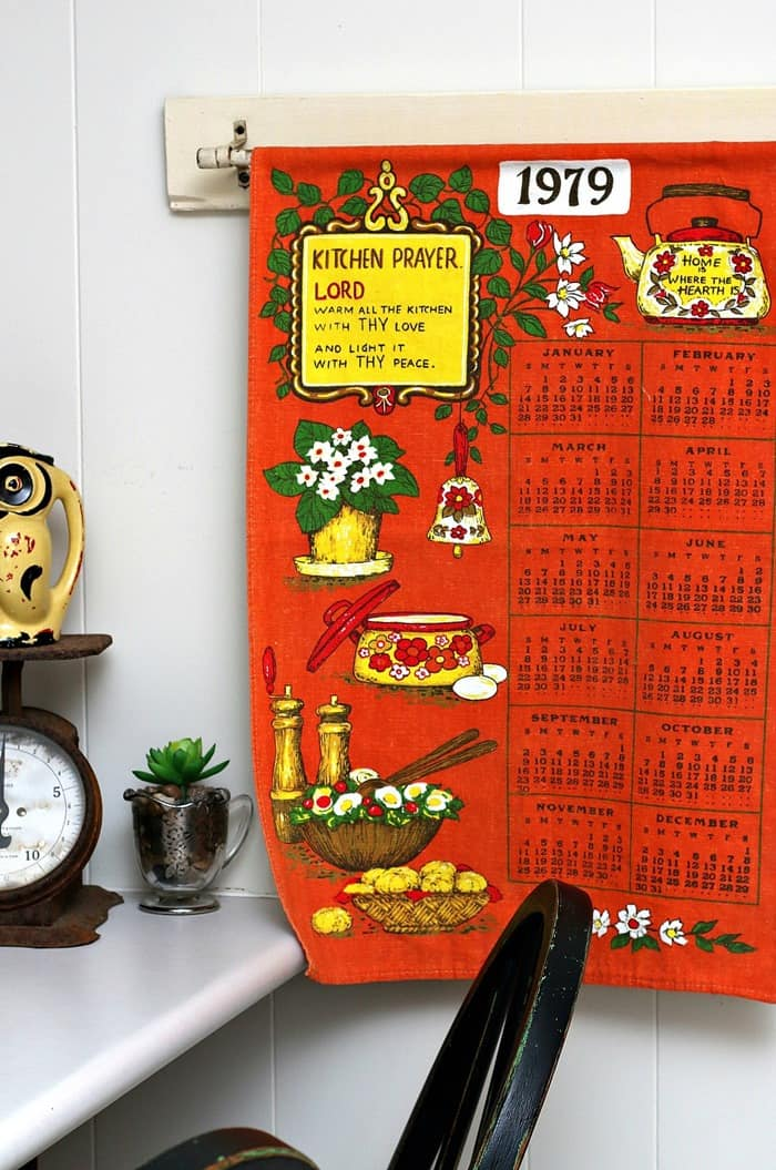 A Vintage Towel Calendar makes a great wall hanging