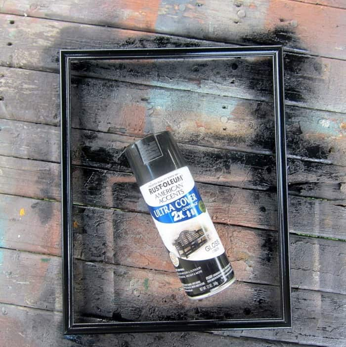 Dollar Tree frome spray painted with Rustoleum Black Spray Paint