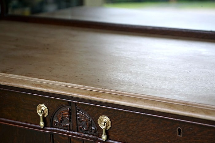 Vintage Buffet Gets A Painted Antiqued Top
