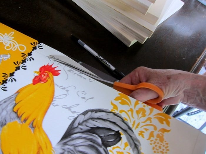 cut the Dollar Tree Rooster Placemat to the correct size