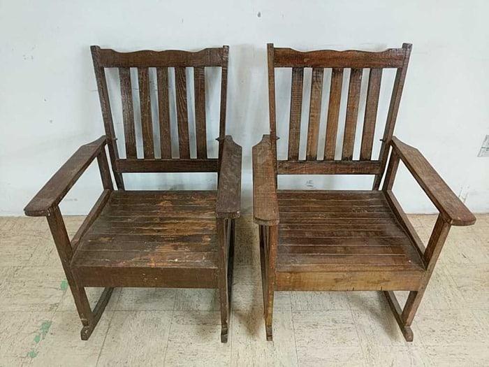 pair of wood rockers