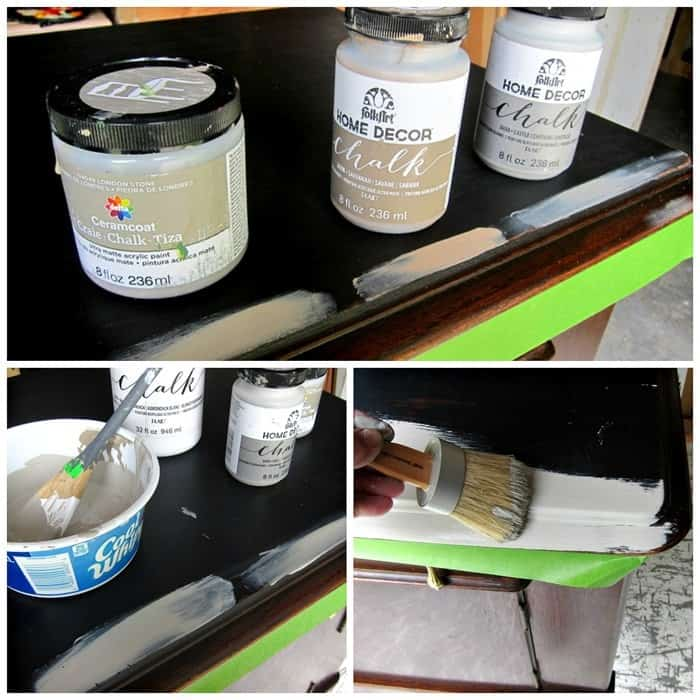selecting paint colors for furniture makeover from FolkArt Chalk