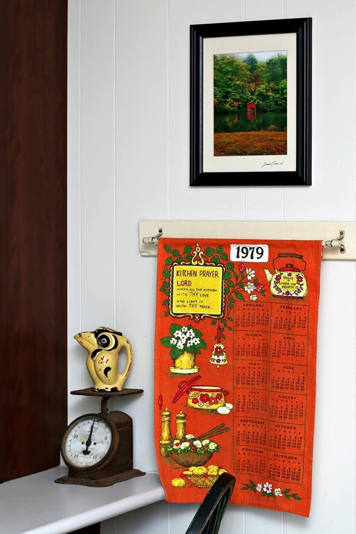 vintage orange tea towel calendar wall hanging