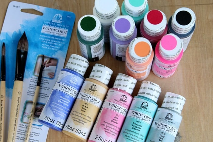 FolkArt Watercolor Acrylic Paint and Watercolor Paint Brushes