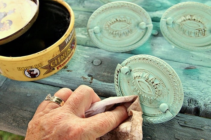 Howard's Wax to antique furniture hardware