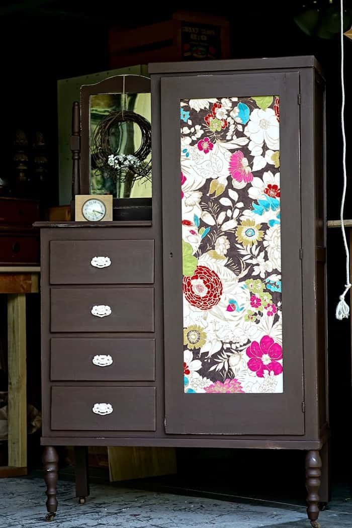Spice It Up With Java Paint Color And Bold Fabric Furniture Makeover