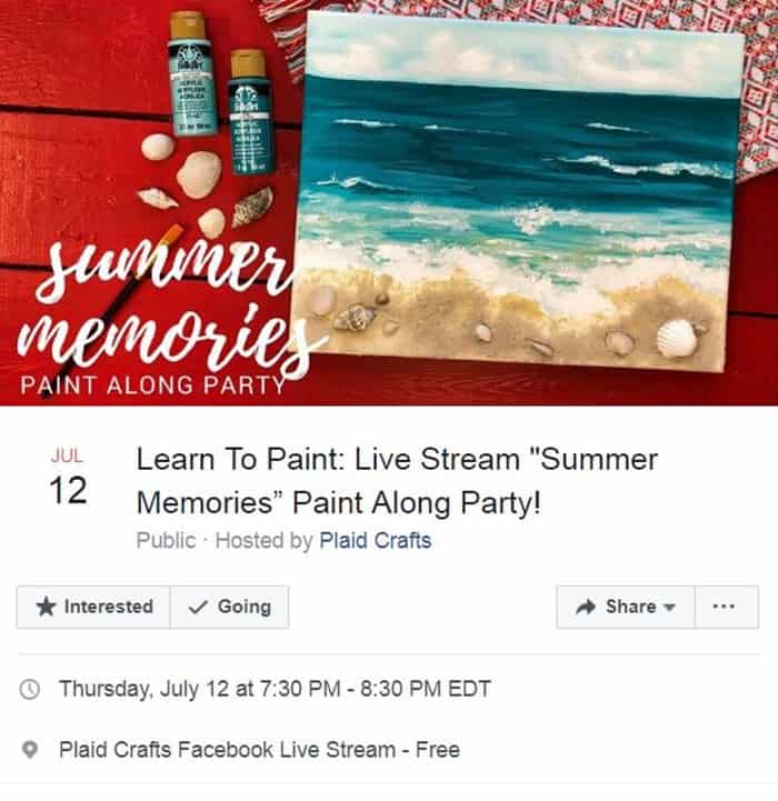 Summer Memories beach scene Paint With Plaid Night