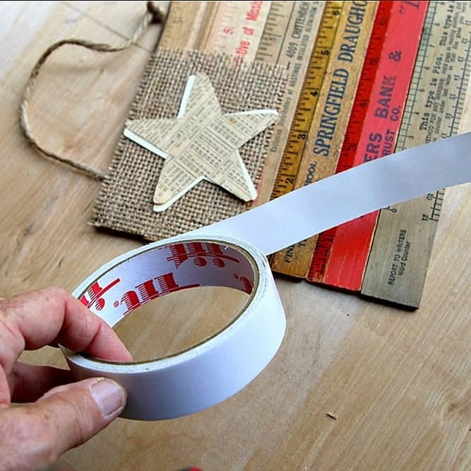 double sided tape to adhere paper star to rustic flag