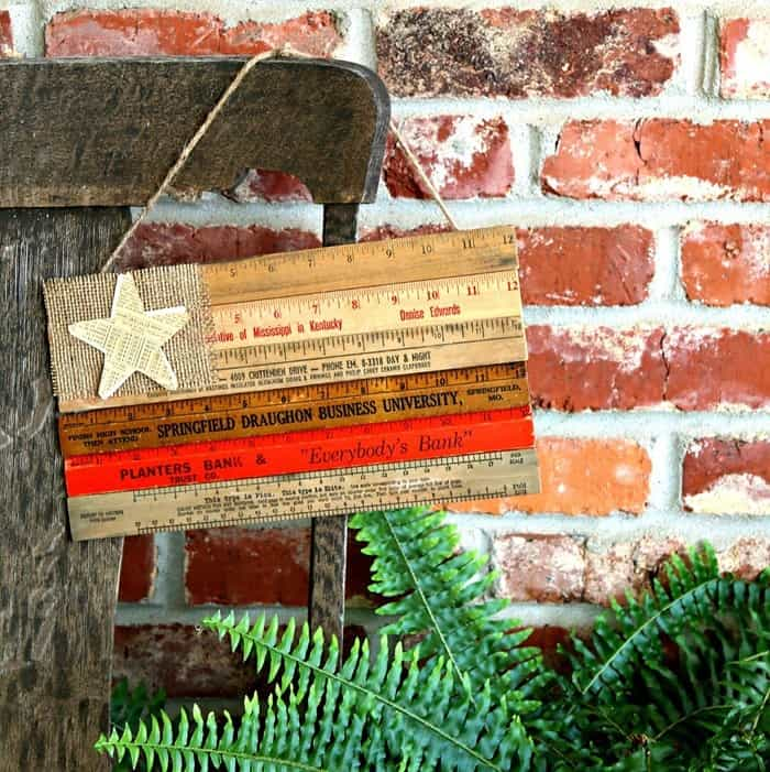 how to make a rustic wooden ruler flag with burlap and paper star