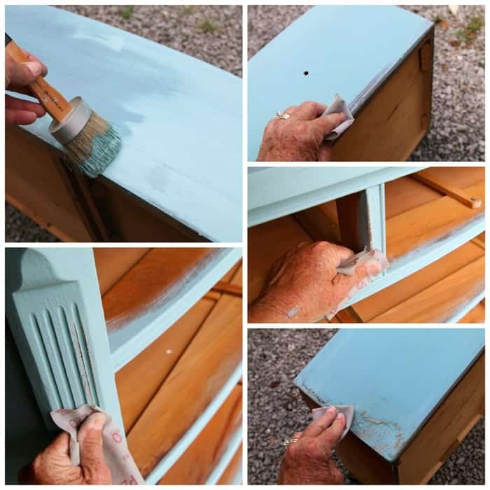 paint and distress damaged furniture to give it a beach inspired look