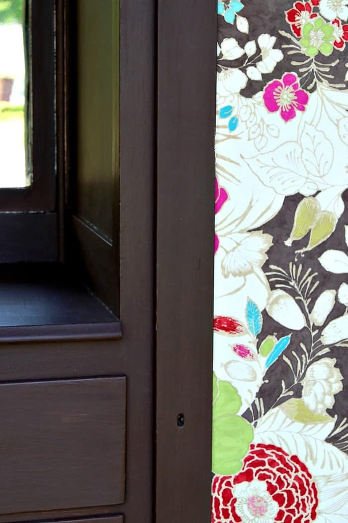 pretty floral fabric insert for vintage wardrobe door