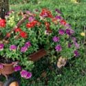 rusty wagon flower planter
