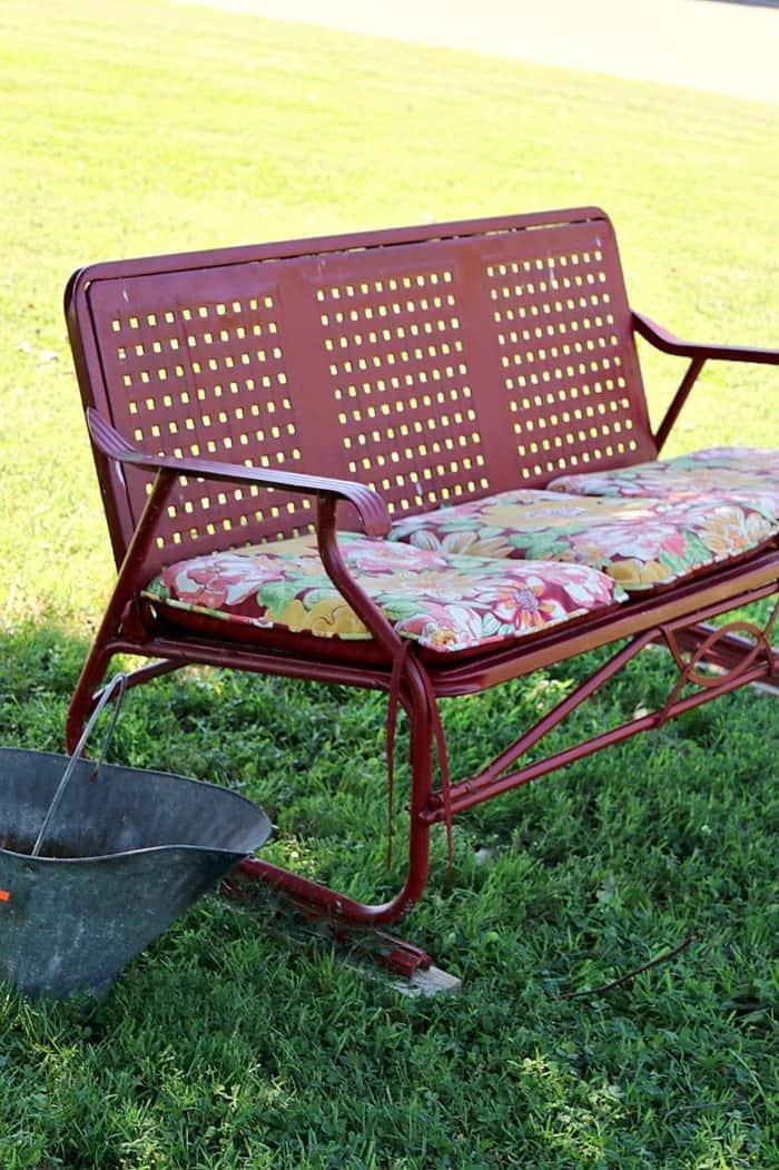 vintage metal glider spray painted red
