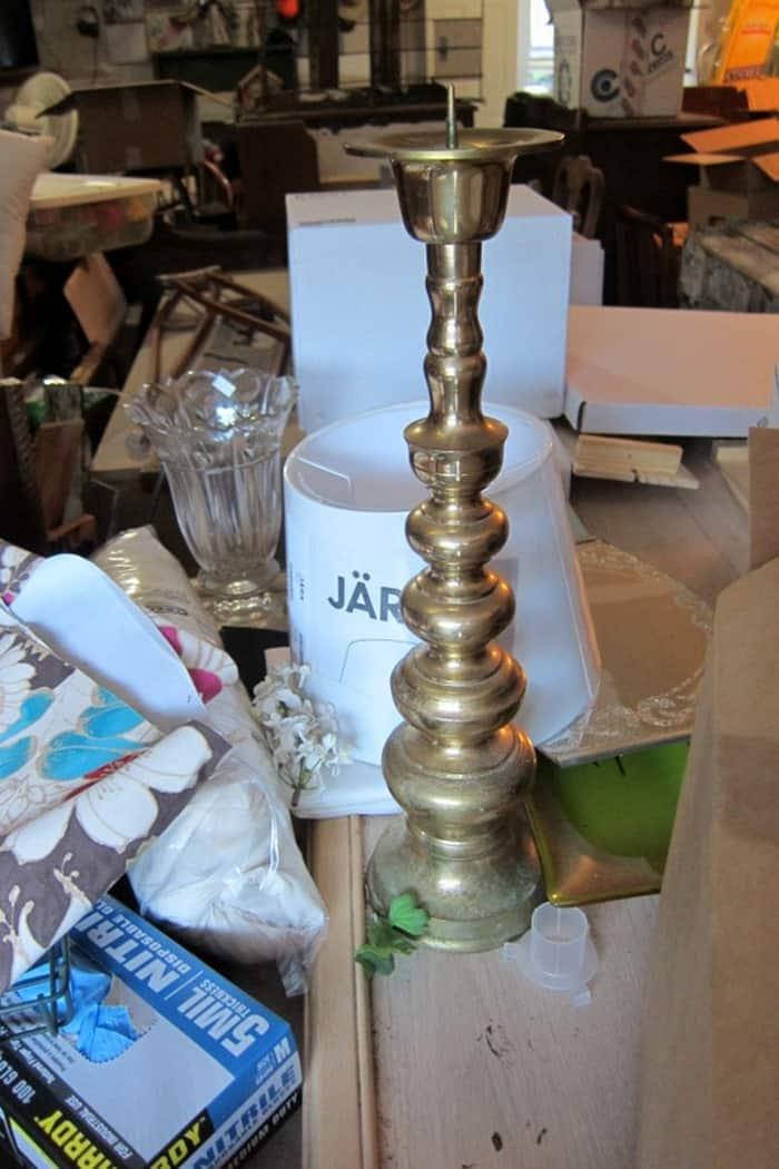 $1 brass candlestick from Goodwill