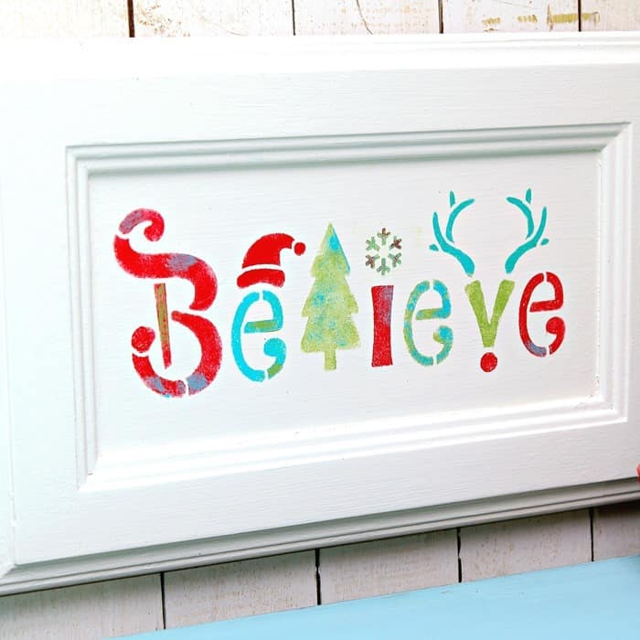 Believe stenciled sign Christmas wall decor