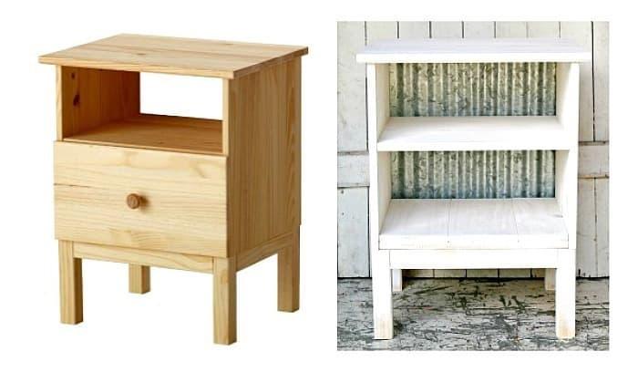 Ikea Tarva on the left and Tarva hack on the right